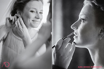 bride donning jewelry and makeup