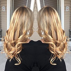 blond woman with ombre haircut